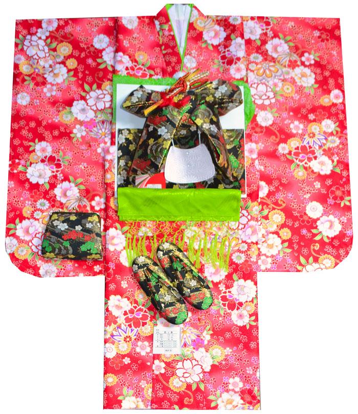 七五三 着物 7歳 女の子 着物フルセット 桜にマリ 赤 四つ身セット 2020年新作 肩上げ無料 着付けマニュアルDVD付き販売 購入