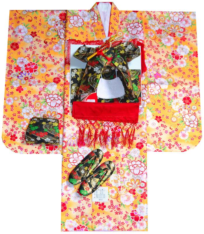 七五三 着物 7歳 女の子 着物フルセット 桜にマリ 山吹 四つ身セット 2020年新作 肩上げ無料 着付けマニュアルDVD付き販売 購入