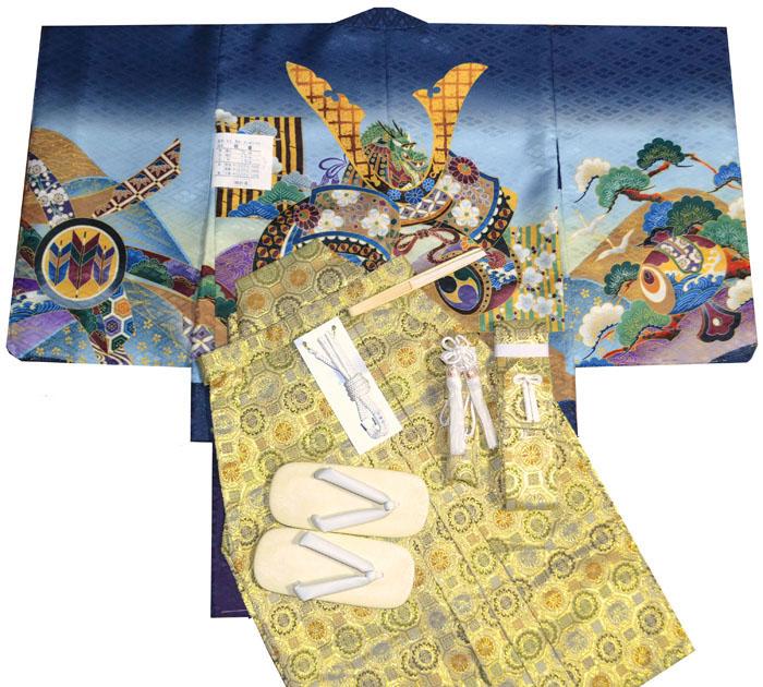 七五三 着物 男の子 袴 セット 3歳羽織袴 フルセット 兜柄 紺 着付けマニュアルDVD付き販売 購入