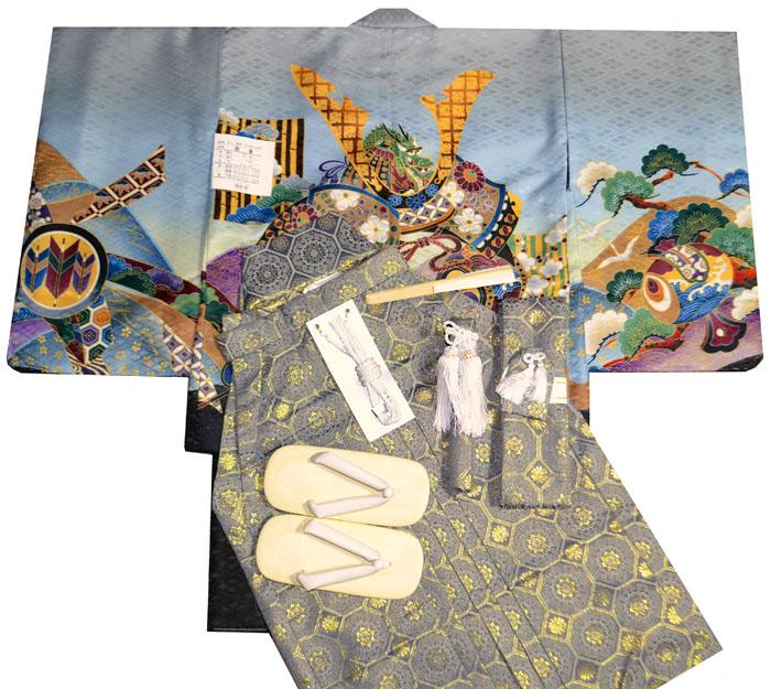 七五三 着物 男の子 袴 セット 3歳羽織袴 フルセット 兜柄 グレー 着付けマニュアルDVD付き販売 購入