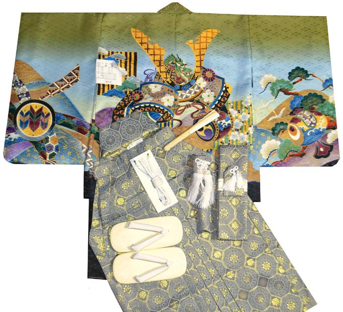 七五三 着物 男の子 袴 セット 3歳羽織袴 フルセット 兜柄 着付けマニュアルDVD付き販売 購入