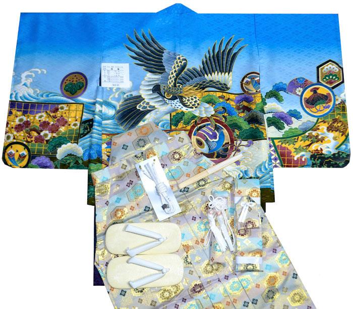 七五三 着物 男の子 袴 セット 3歳羽織袴 フルセット 鷹に衝立柄 ブルー 着付けマニュアルDVD付き