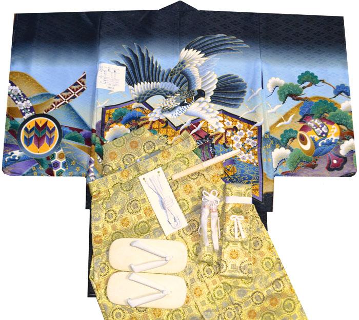 七五三 着物 男の子 袴 セット 3歳羽織袴 フルセット 鷹に屏風柄 黒 着付けマニュアルDVD付き販売 購入
