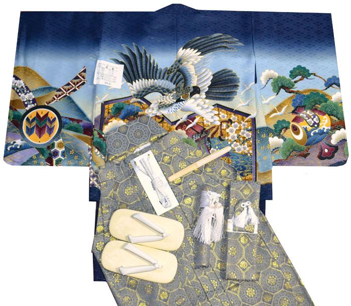 七五三 着物 男の子 袴 セット 3歳羽織袴 フルセット 鷹に屏風柄 紺 着付けマニュアルDVD付き販売 購入
