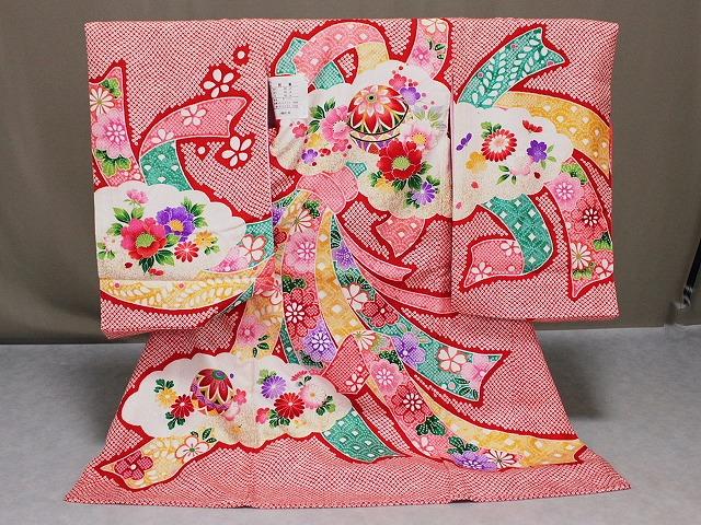 女の子用正絹初着 染絞り柄のお宮参りきもの 正絹初着 女児の宮参り用 送料無料 A1282-01