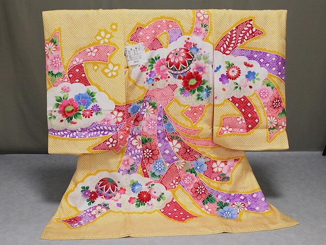 女の子用正絹初着 染絞り柄のお宮参りきもの 正絹初着 女児の宮参り用 送料無料 A1282-07