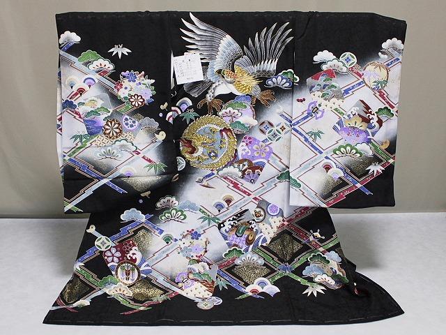 男児正絹初着 日本製 お宮参り用のきもの 送料無料 A1308-05