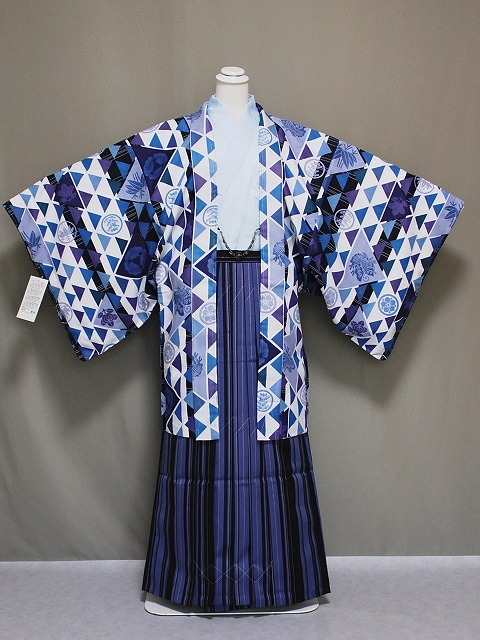 J トレンドの男性用着物と袴のセット 羽織紐付 長襦袢付 ポリエステル地の着物と袴のセット Lサイズ A1407-02L