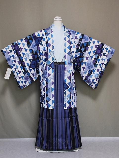 J トレンドの男性用着物と袴のセット 羽織紐付 長襦袢付 ポリエステル地の着物と袴のセット Mサイズ A1407-02M