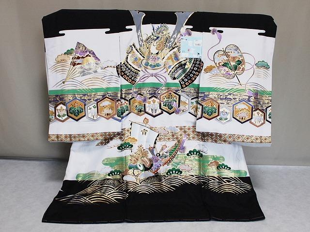 送料無料 「竜王」ブランドの男児祝着 正絹お宮参り用の着物 A6701-03