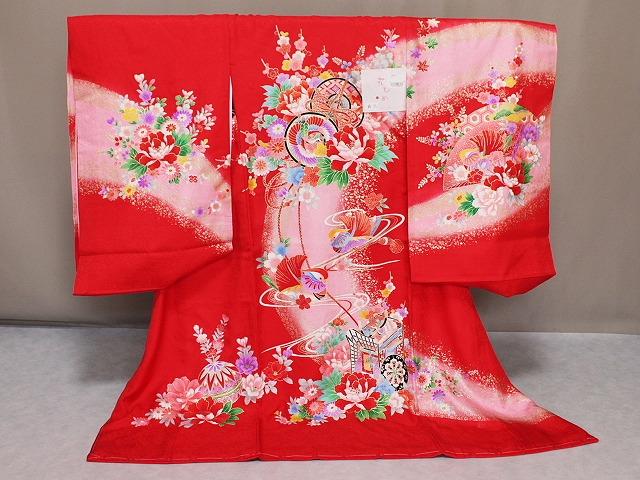 送料無料 「花ひめ」ブランドの初着 女の子お宮参り用着物 正絹女児初着 A6731-08