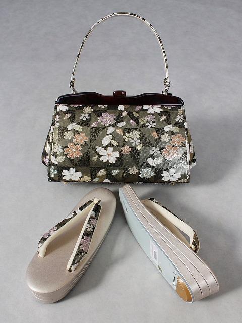 帯地使用バッグと草履のセット 少し大きめなバッグのセット 口金がべっ甲調バッグとLサイズ草履のセット 日本製 A6747
