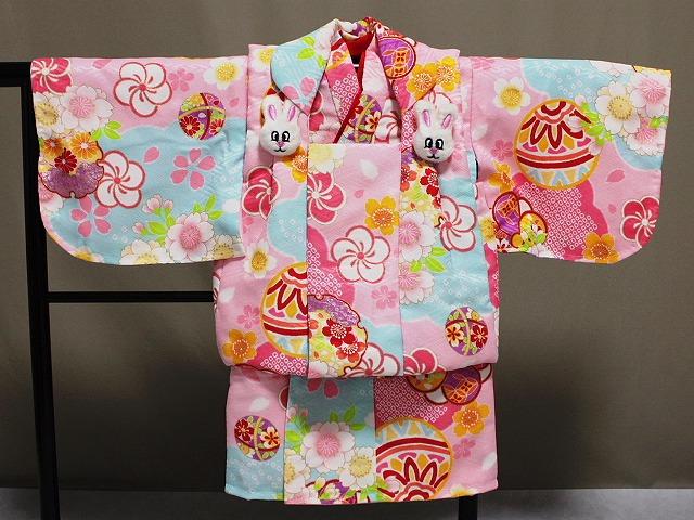 日本製 手縫いの一ツ身 ベビー用着物と被布コート 当店オリジナル着物と被布 B0001-06