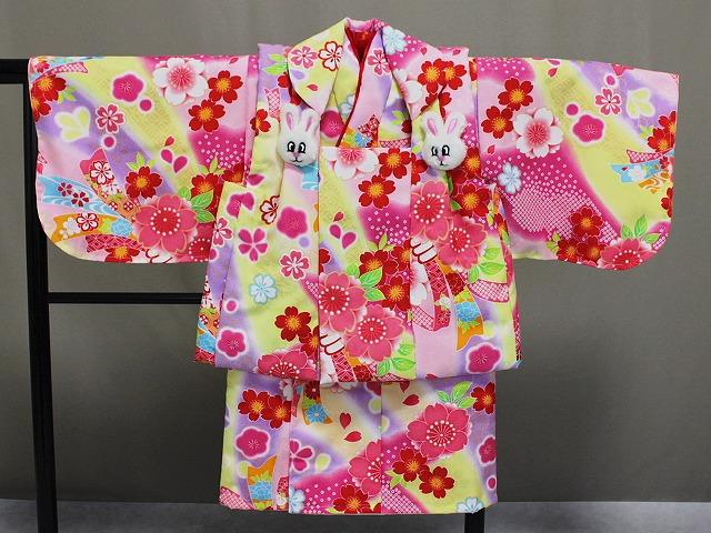 日本製 手縫いの一ツ身 ベビー用着物と被布コート 当店オリジナル着物と被布 B0001-14