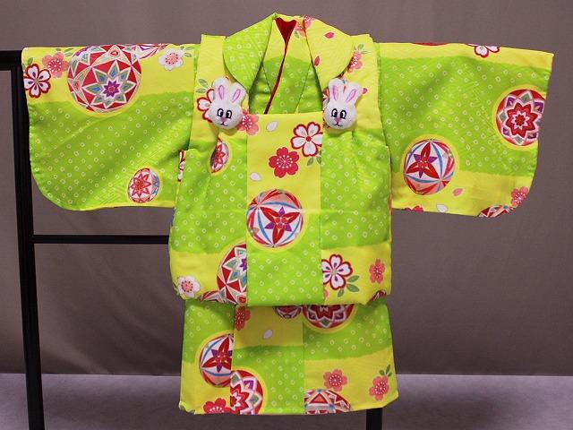 日本製 手縫いの一ツ身 ベビー用着物と被布コート 当店オリジナル着物と被布 B0001-16