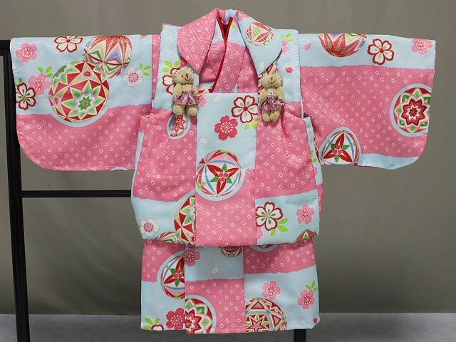 日本製 手縫いの一ツ身 ベビー用着物と被布コート 当店オリジナル着物と被布 B0001-22