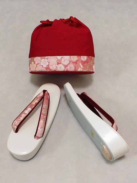 巾着型バッグと草履のセット 二尺袖に お振袖に フリーサイズ草履と布地のバッグ 送料無料 B3031-05