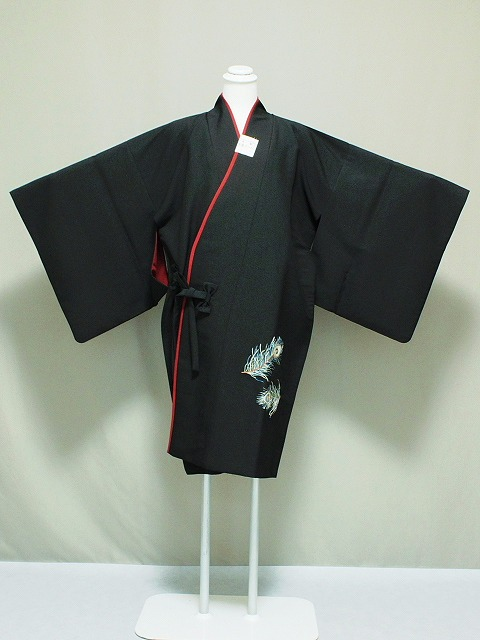 リバーシブルの和装コート道中着 両面着用できる着物用コート 刺繍柄入りです 送料無料 B3619-04