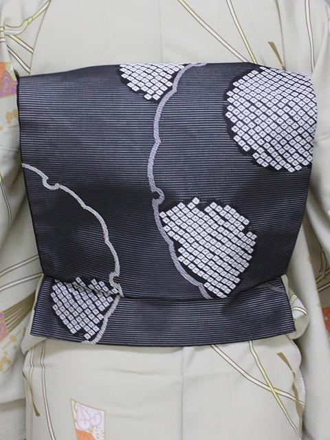 正絹夏の袋帯 日本製 西陣織夏の袋帯 夏の着物用袋帯 お仕立済の夏袋帯 黒地の帯 B5887-09