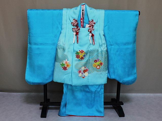 高級正絹被布セット 三歳用 七五三着物 祝い着 日本製 ロイヤルブルーの被布セット C4448