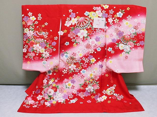 初着 「花ひめ」ブランドの初着 女の子お宮参り用着物 正絹女児初着 送料無料 D6060-01