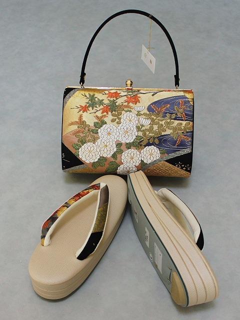 草履・バッグセット 白梅ブランド 日本製 Lサイズ フォーマル用 正絹帯地使用 送料無料 D8518-05