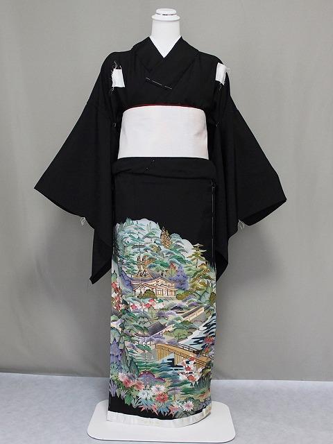 蘇州刺繍柄の未仕立正絹江戸妻 逸品・刺繍柄の黒留袖 未仕立正絹江戸妻 E42805A