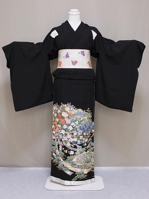 刺繍柄の正絹江戸妻 未仕立 江戸褄 正絹黒留袖 豪華な柄 在庫処分 格安 極上黒留袖 G110