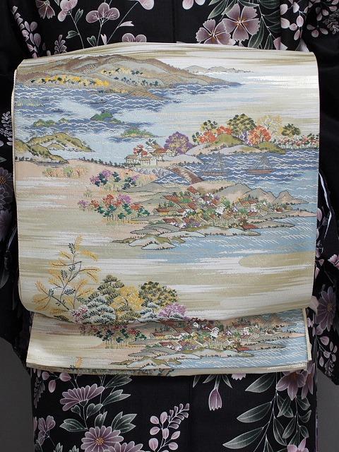 在庫処分 風景画の正絹袋帯 お仕立済です I2961