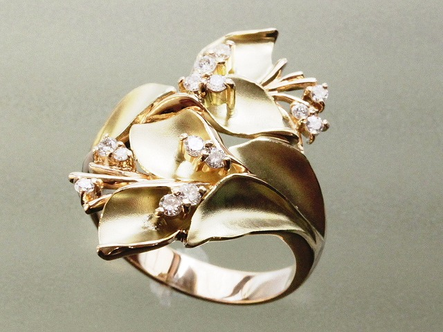 K18デザインリング ファッションリング 豪華なデザイン おしゃれな指輪 当店在庫セール 格安ゆびわ J5003