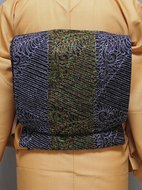 無月袋帯 全通 おしゃれ袋帯 西陣 絹シルク 在庫処分 送料無料 L3858