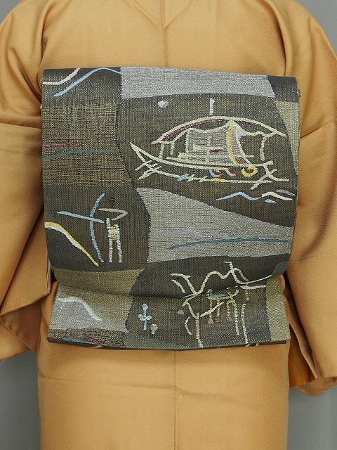 丸帯 変わり織の袋帯 金茶色の帯 リバーシブルの帯 高級おしゃれ帯 送料無料 Q3805-01