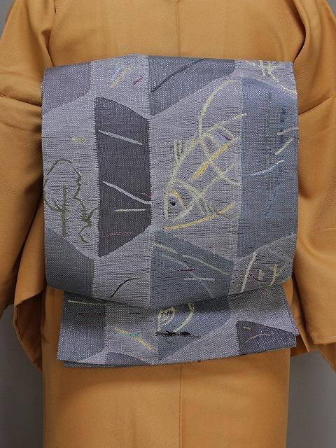 丸帯 変わり織の袋帯 グレーの帯 リバーシブルの帯 高級おしゃれ帯 送料無料 Q3805-02