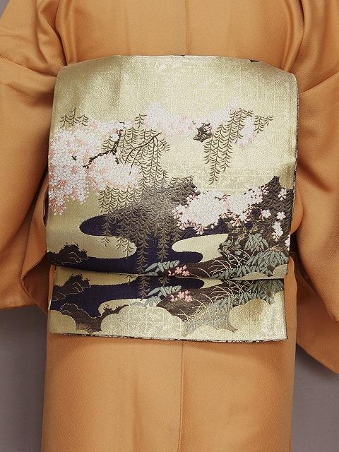 丸帯 フォーマル用帯 金地に松と竹 お仕立て済み 江戸褄 訪問着 リバーシブル 送料無料 S5363-01