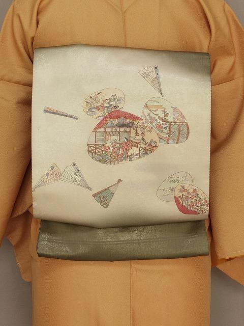平安絵巻柄 正絹袋帯 まっ茶色の帯 古典柄の帯 手描き 送料無料 U0003