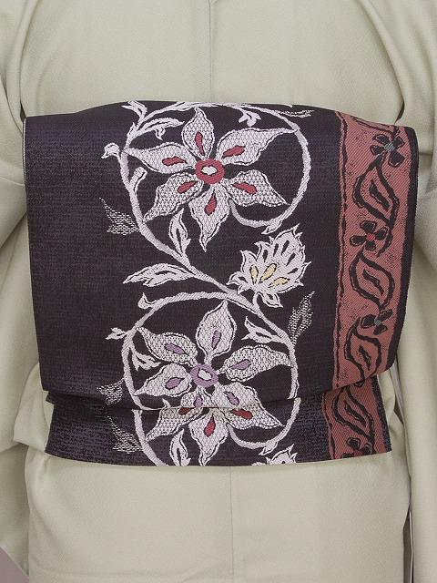 八寸お仕立て済帯 八寸名古屋帯 お仕立すみ すぐに着用できる名古屋帯 黒色の帯 U0574-01