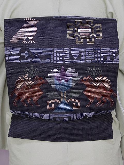 正絹八寸名古屋帯 お仕立て済 おしゃれ着用の帯 正絹名古屋帯 黒色の帯 U3800