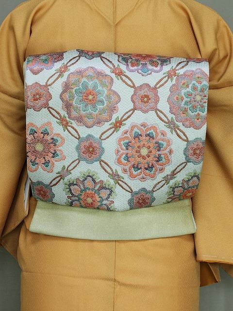 刺繍袋帯 紗刺し刺繍 グリーン系の帯 正絹袋帯 お仕立て済 送料無料 U7384