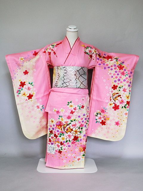 七五三・七歳女児用 正絹仕立て上がり着物・四ッ身きもの W7006-06