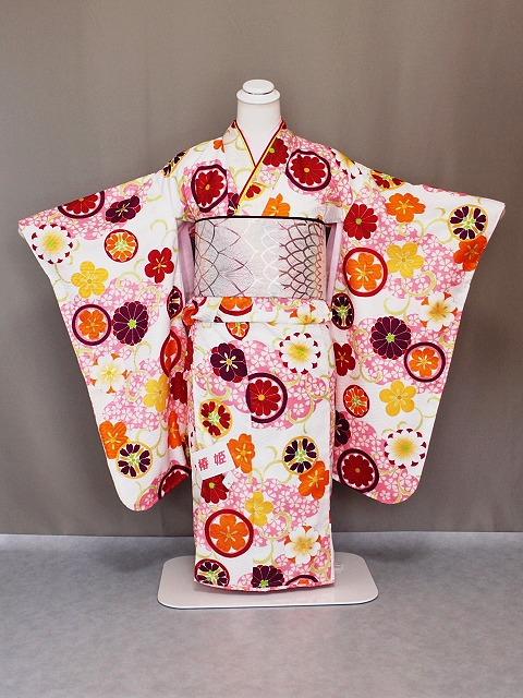 椿姫ブランド ワンランクアップの交織四ッ身着物 七歳用女児きもの 七五三着物 日本製 X0535-02