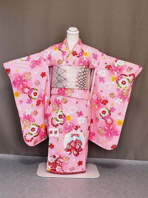 七歳用四ッ身着物 七五三用七歳女児きもの 「椿姫」のうさぎ柄の着物 X9877-01