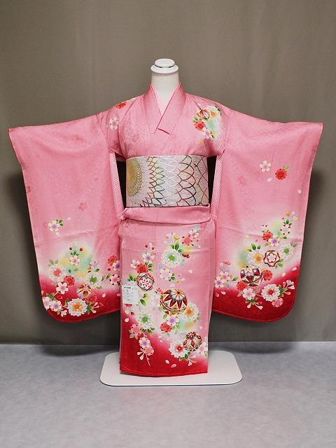 正絹四ツ身着物 日本製女児七歳用 七五三着物 Z4000