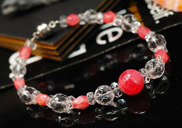 【限定数3個】インカローズ、天然水晶の天然石ブレス(画像より、ややオレンジ色)