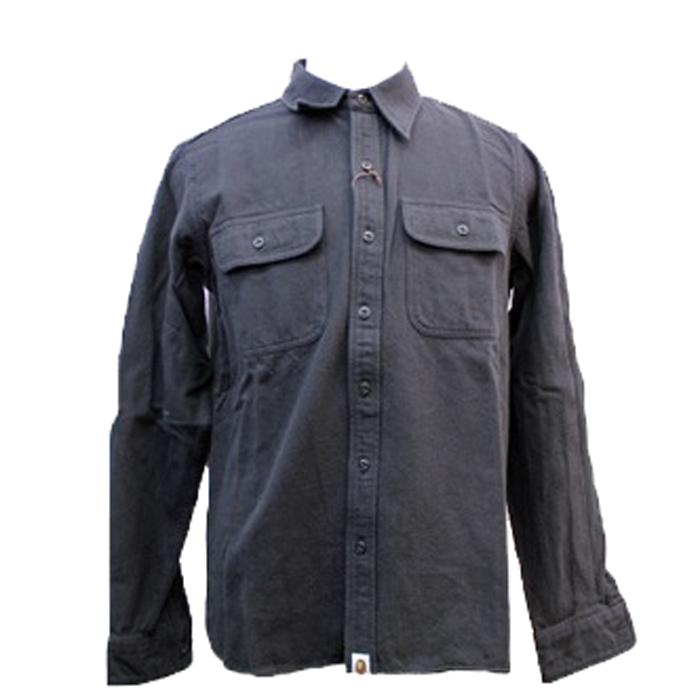 エイプ A BATHING APE 長袖ワークシャツ 黒 M 未使用  中古