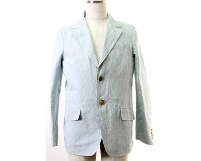 エイプ A BATHING APE テーラードジャケット 白×水色 M 中古