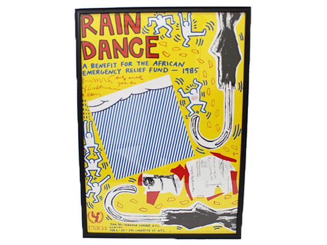 ポイント2倍キースへリング Keith Haring 「Rain Dance」 ポスター  中古 美品
