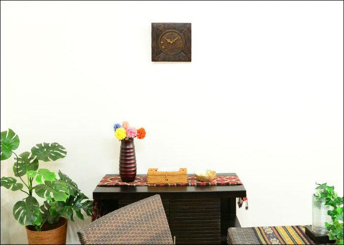 ! 목각 벽시계 드리안웃드<파 모양>인도네시아 발리섬 발리 잡화 아시안 잡화 에스닉 리조트 인테리어 모던 아시안 가구 아시안 시계 벽걸이 목제 카빙 신축 축하 개점 축하 WOO-0332