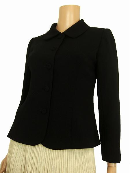 【中古】ハナエモリ HANAE MORI 濃黒 ブラック くるみ釦 美形ウールジャケット 小さいサイズ 7号 レディース アウター