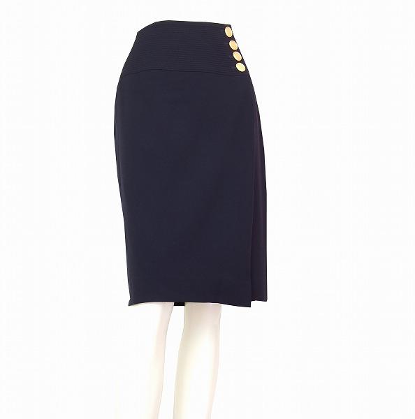 【中古】クリスチャンディオール Christian Dior 紺 金釦 美形ラップスカート Mサイズ/9号 春秋 レディース ボトムス
