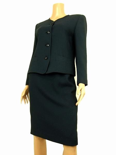 【中古】バンベール VINVERT 大人色 素敵デザイン釦 美形スカートスーツ 9号 セットアップ レディース